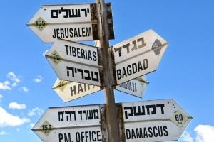 Stolpe med mange skilt i ulike retninger, blant annet Jerusalem